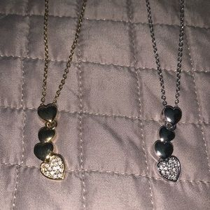 Two heart necklaces